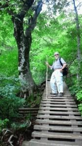 登山途中、3合目付近の木道(木橋?)にて