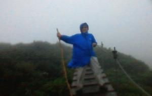 「大山山頂 0.5km」の看板付近の木道にて