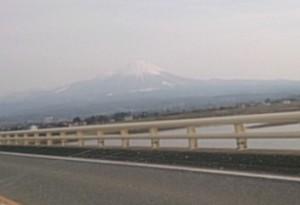 山陰道、安来あたりかた見え始めた秀麗伯耆大山